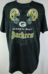 Green Bay Packers NFL Men's Black Distressed Helmet Tee