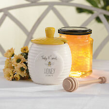 David Mason Bee Happy Honey Pot With Dipper Ceramic Hive Storage Jar Canister