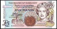 1996 THE STATES of GUERNSEY £5 REPLACEMENT BANKNOTE * Z 002232 * aEF *