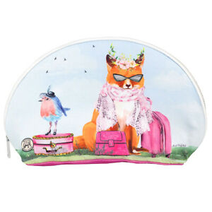 "Michel Design Works Garden Party Fox & Bluebird Travel Cosmetic Bag 10"" x 6.25"""