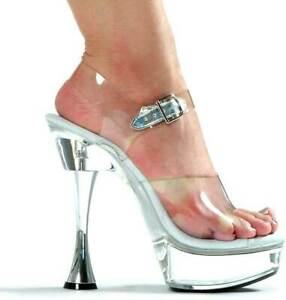 Sexy Clear Platform Ankle Strap Sandals Spool High Heels Shoes Adult Women
