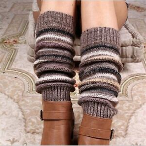 Women Stripe Leg Warmers Cashmere Knitted Fashion Crochet Gaiters Boot Cuffs