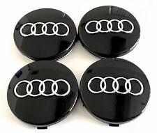 New Set Of 4 Black Wheel Center Caps Hub Caps For Audi 60Mm Part# 4B0601170