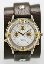 Fossil Watch Mens Stainless Gold Silver Date 24hr Leather Brown 30m White Quartz