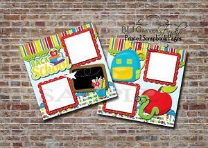 Back To School Boy Girl 2 PRINTED Premade Scrapbook Pages BLJgraves 104