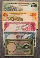 5 diff. South Vietnam paper money 1956-1970's nice circ.-Au