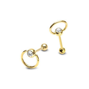 Tongue Piercing Slave Door Knocker Ring Gold Ball Crystal Steel Barbell Piercing