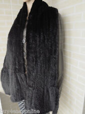 Black Real Knit Mink Fur Long Cape Stole Shawl Scarf Wrap  Mink Fur Collar