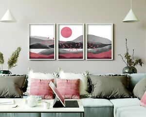 Grey and Rose Pink Abstract Print Set of 3, Landscape Modern Wall Art Set