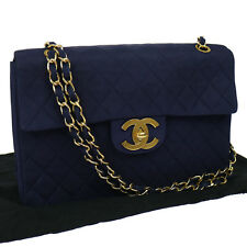 Authentic CHANEL Jumbo XL Quilted Double Chain Shoulder Bag Navy Vintage BT10716