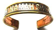 "OM NAMAH SHIVAY English Cuff Bracelet Wristlet Kada Kadaa Length 9"" Copper Brass"