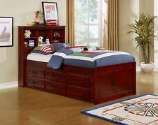 Merlot Bookcase Headboard Captains Storage Bed Twin Size w/ 6 Drawers solid Wood
