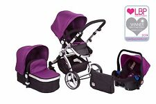 BLACK & PURPLE CARRERA 3-IN-1 TRAVEL SYSTEM/PUSHCHAIR & ISOFIX CAR SEAT
