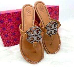 NIB $248 TORY BURCH Miller Crystal Embellished Logo Leather Thong Sandal In Tan