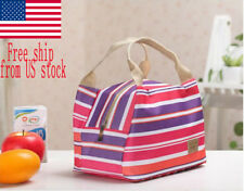 Purple Stripe Canvas Thermal Insulated Portable Lunch Tote Case Picnic Bag US
