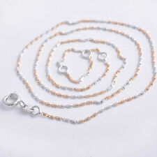 Sports Style  2-Tone Rose/White  18K Gold Filled Womens Chain Necklace