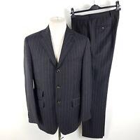 Etro Anzug Herren Gr. 50 R Drop 6 W33 L34 Grau Blau Orange Gestreift Wolle Suit