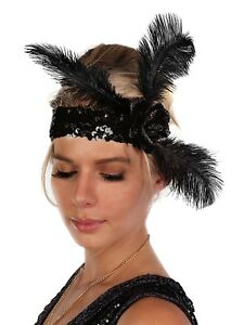 Flapper 1920's Fashion Headband Sequin Rose Feathers Costume Gatsby Party BLACK