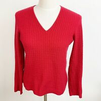Ann Taylor 100% Cashmere V Neck Cable Knit Ribbed Womens Red Sweater Size Small
