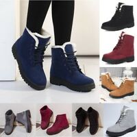 Women's Winter Warm Suede Ankle Snow Boots Fur Thicken Ski Flats Casual Shoes t1