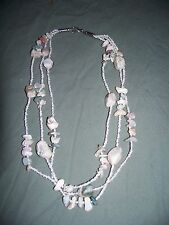 Older Natural Stone Chips Bead 3 Strand Necklace Light Colors