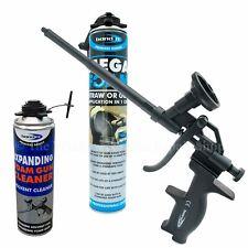 PU Polyurethane Expanding Foam Kit Packs Heavy Duty Teflon Gun + Cans + Cleaner