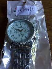 New Gents ORLANDO Large White Faced SS Watch  W257/7