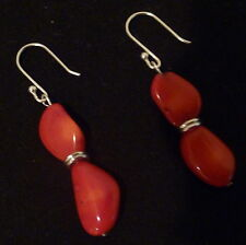 UNIQUE RED CORAL SILVER EARRINGS FORMAL BIRTHDAY WEDDING VALENTINE GIFT