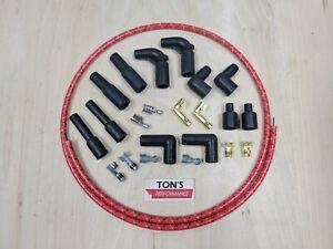 Universal Harley Davidson Spark Plug Wires Kit Red BlackYellow Cloth Braided 8mm