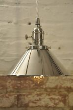 Polished Nickel Industrial Pendant Light Fixture Rustic Vintage Retro Chrome