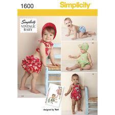 Simplicity Sewing Pattern 1600 Babies  XXS-L Vintage Romper Top Panties Hat