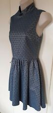 LADIES TOPSHOP MINT TURQUOISE FLORAL / COLLARED LINED BODICE / T-DRESS UK SIZE 8