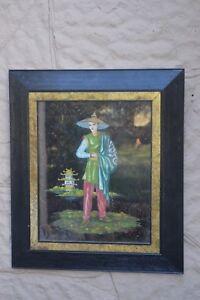 VTG Mid Century Modern asian influence reverse painting on glass Oriental Woman