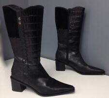 STUART WEITZMAN Black Leather Multi Texture Block Heel Side Zip Boot Sz 9 B4298
