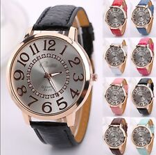 On Trend Lady Rose Gold Quartz Watch Large Numbers Face Faux Leather Strap Bling