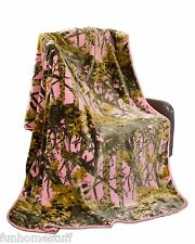 "PINK CAMO Super Soft Plush Heavy Queen THE WOODS PINK CAMOUFLAGE Blanket 79""x96"""