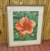 Framed Red Hawaiian Hibiscus Flower Hawaii Tropical Original Print Art by Erich