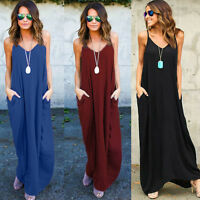Womens Summer Long Dress Ladies Hippie Boho Evening Cocktail Party Beach Dresses