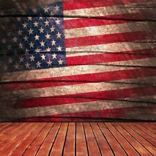 American Flag Wood Board Photography Backgrounds Backdrops 8x8FT Vinyl Baby