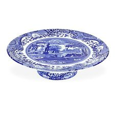 New Spode Blue Italian Footed Cake Plate
