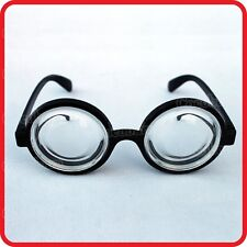 NERD-CLOWN-SCHOOL BOY-THICK BOTTLE LENSES GLASSES BLACK RIM ROUND-COSTUME-PARTY