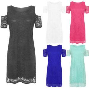 Ladies Plus Size Floral Lace Lined Off Shoulder Cut Out Evening Dress 14-28
