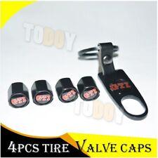 4Pcs VW GTI Emblem Black Wheel Tire Valve Stems Air Dust Cover Caps+Keychain
