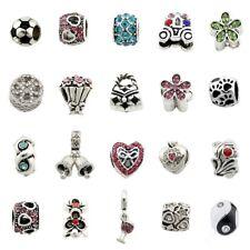 5pcs Silver /P Rhinestone Crystal Big Hole Beads For European Charm Bracelet E50