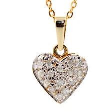 GENUINE NATURAL DIAMOND HEART 9K YELLOW GOLD PENDANT NECKLACE + GOLD CHAIN