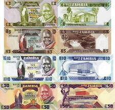 ZAMBIA - Lot Lotto 4 banconote 2/5/10/50 - 80 Kwacha FDS - UNC
