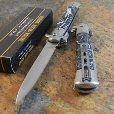 TAC-FORCE Spring Speed Assisted BLACK Swirl Milano Celluloid STILETTO Knife NEW!