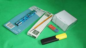 Schreibtischset, Zettelbox,11x Bleistifte,Radiergummi,Marker Schule, Beruf, Büro
