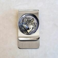 Steel Money Clip Wolf Moon Stainless