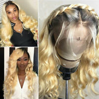 100% Remy Indian Human Hair Wig Blonde Body Wave Lace Front Wigs With Baby Hair